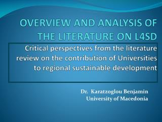 Dr.   Karatzoglou Benjamin  University of Macedonia