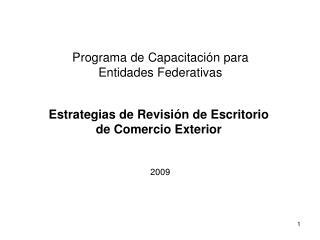 Programa de Capacitación para Entidades Federativas