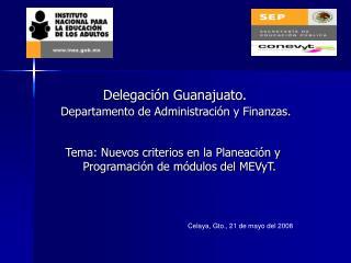 Tema: Nuevos criterios en la Planeación y Programación de módulos del MEVyT.