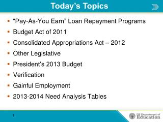 """Pay-As-You Earn"" Loan Repayment Programs Budget Act of 2011"