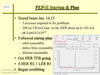 PEP-II Startup & Plan