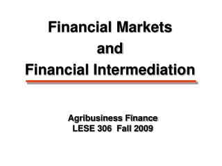 Agribusiness Finance LESE 306  Fall 2009