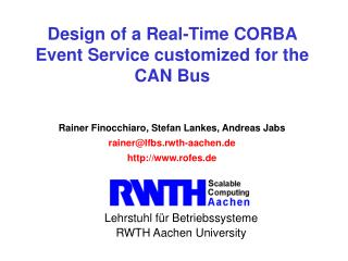 Design of a Real-Time CORBA Event Service customized for the CAN Bus