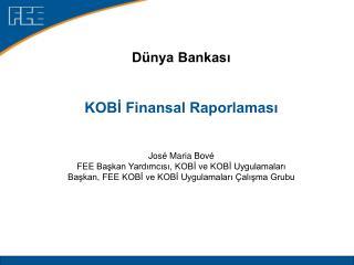 Dünya Bankası KOBİ Finansal Raporlaması José Maria Bové