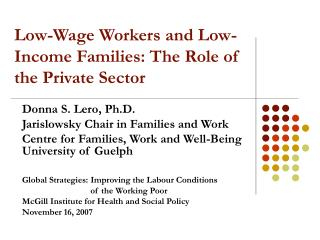 Low-Wage Workers and Low-Income Families: The Role of the Private Sector