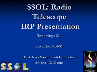 SSOL: Radio Telescope  IRP Presentation