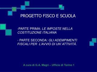 PARTE PRIMA: LE IMPOSTE NELLA COSTITUZIONE ITALIANA  - PARTE SECONDA: GLI ADEMPIMENTI FISCALI PER  L AVVIO DI UN  ATTIVI