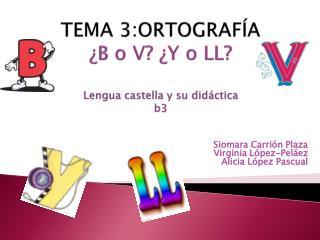 TEMA 3:ORTOGRAFÍA ¿B o V? ¿Y o LL? Lengua  castella  y su didáctica  b3
