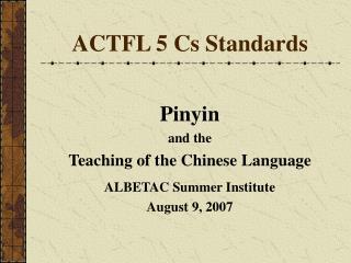 ACTFL 5 Cs Standards