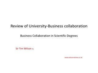 Review of University-Business collaboration Business Collaboration in Scientific Degrees