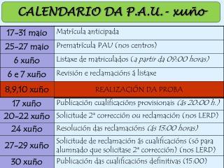 CALENDARIO DA  P.A.U.-  xuño