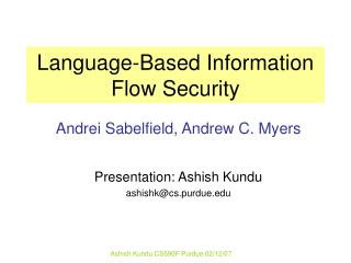 Language-Based Information Flow Security