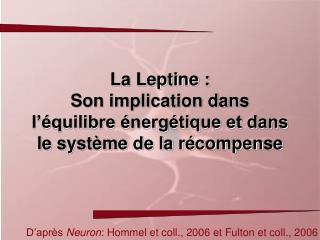 La Leptine : Son implication dans l'équilibre énergétique et dans le système de la récompense