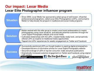 Our impact: Lexar Media Lexar Elite Photographer influencer program