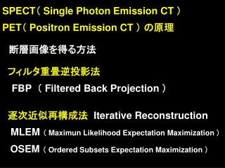 SPECT Single Photon Emission CT  PET Positron Emission CT                FBP   Filtered Back Projection       Iterative