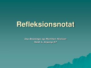 Refleksionsnotat