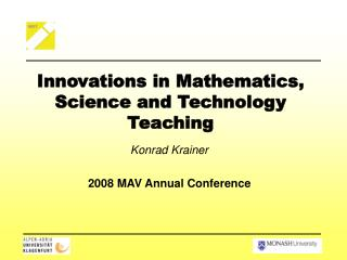 Innovations in Mathematics, Science and Technology Teaching