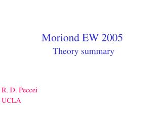 Moriond EW 2005 Theory summary