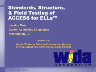Standards, Structure,   Field Testing of  ACCESS for ELLs