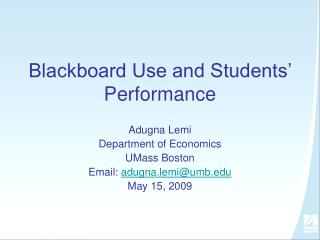Blackboard Use and Students' Performance