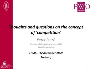 Thoughts and questions on the concept of 'competition'