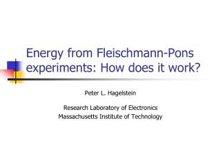 Energy from Fleischmann-Pons experiments: How does it work?