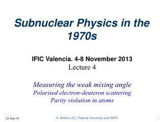 Subnuclear Physics in the 1970s