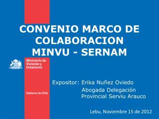 CONVENIO MARCO DE COLABORACION  MINVU - SERNAM