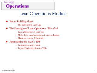 Lean Operations Module