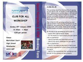 A Club for All This workshop identifies the benefits of ...