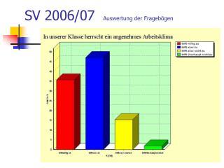 SV 2006/07   Auswertung der Fragebögen
