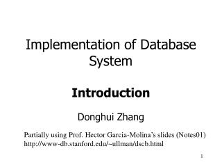 Implementation of Database System  Introduction