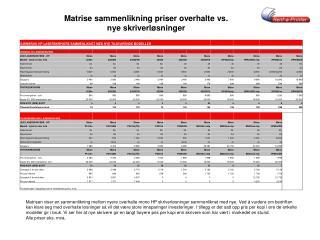 Matrise sammenlikning priser overhalte vs.  nye skriverløsninger
