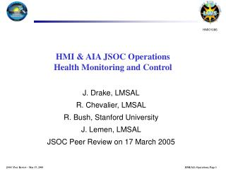 HMI & AIA JSOC Operations Health Monitoring and Control