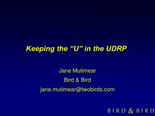"""Keeping the """"U"""" in the UDRP"""