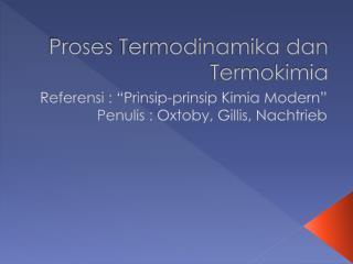 Proses Termodinamika dan Termokimia