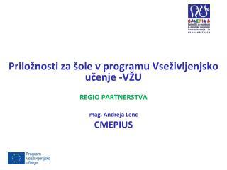 Priložnosti za šole v programu Vseživljenjsko učenje -VŽU REGIO PARTNERSTVA m ag. Andreja Lenc