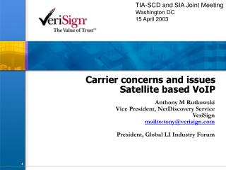 Carrier concerns and issues  Satellite based VoIP