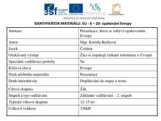IDENTIFIKÁTOR MATERIÁLU: EU - 6  – 20- opakování Evropy