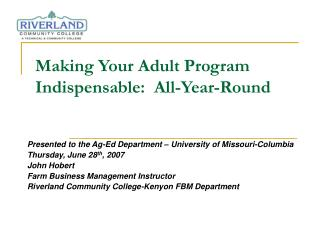 Making Your Adult Program Indispensable:  All-Year-Round