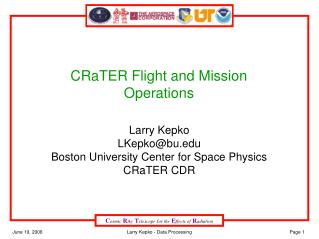 CRaTER Flight and Mission Operations