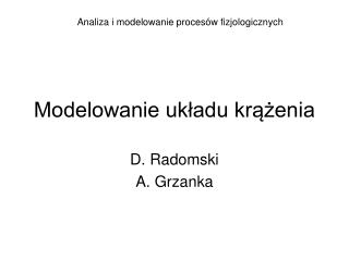 Modelowanie układu krążenia