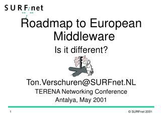 Roadmap to European Middleware Is it different? Ton.Verschuren@SURFnet.NL