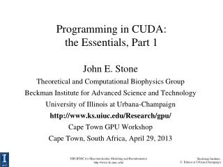 Programming in CUDA: the Essentials, Part 1