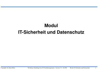 Modul IT-Sicherheit und Datenschutz