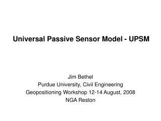 Universal Passive Sensor Model - UPSM