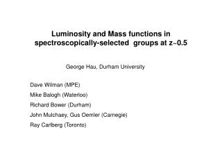 Luminosity and Mass functions in spectroscopically-selected  groups at z~0.5