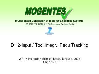 D1.2-Input / Tool Integr., Requ.Tracking