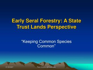 Early Seral Forestry: A State Trust Lands Perspective