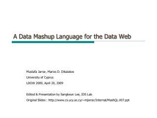 A Data  Mashup  Language for the Data Web